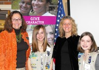 Girl Scout CEO Jan Barker with Alena Buczynski, Kimber Bishop-Yanke, and Maddie Rayner